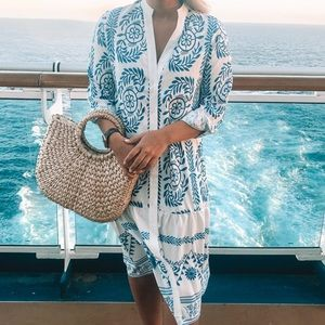 Blue & White Resort Midi Dress